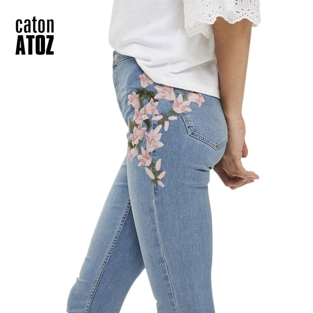 Pencil Embroidery Brand Stretch Jeans