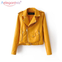 Short Faux Soft Leather Zipper Motorcycle PU Leather Jacket