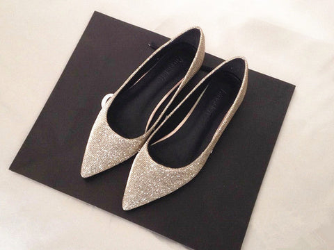 Pointy Gold Silver Sequin Flat Shoes