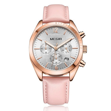 Pink Leather Clock Lovers Hour Watches