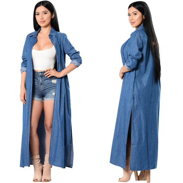 long sleeve Jean cardigan casual long kimono