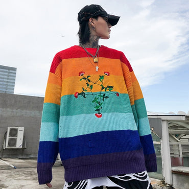Multicolor Patchwork Flower Embroidery Pullover Long Sleeve Sweater
