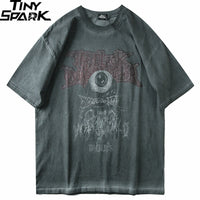 Dark Evil Eye Print Short Sleeve Cotton T-Shirt