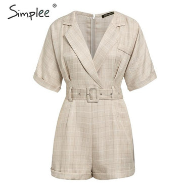Classic plaid sash belt Casual v-neck buttons Rompers