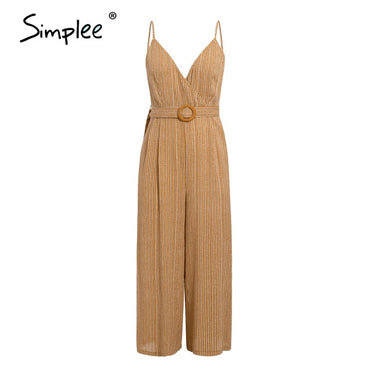 Vintage sash belt striped V neck spaghetti straps Jumpsuits