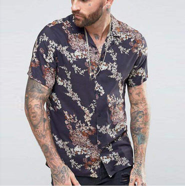 Casual Flora Printing Turn Down Collar Short Sleeve Shirts
