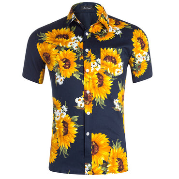 Sunflower Printed Regular Fit Short Sleeve Shirts