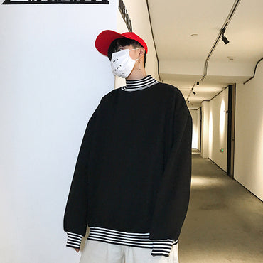 Patchwork High Quality Street Style Turtleneck Sweatshirts