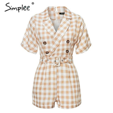 V-neck short sleeve plaid Elegant casual Sash belt Rompers