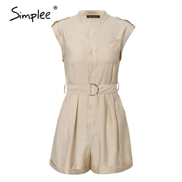 Casual sash belt Sleeveless buttons pockets Rompers