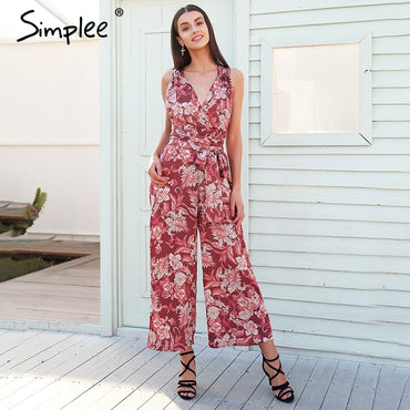 floral print v neck sexy Backless lace up casual jumpsuit