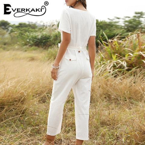 Solid Boho Sashes Casual Elegant Jumpsuits