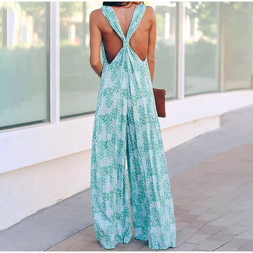 Boho Print V-neck Cross Backless Wide Leg Jumpsuit