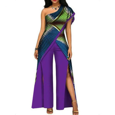 Elegant Colorful Sexy Purple Slim High Waist Stripe Split Chic Jumpsuits