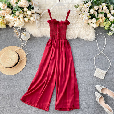 Sexy slim Button Spaghetti Strap Full Length Jumpsuit