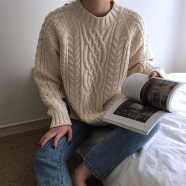 Minimalist Casual Solid Loose Sweaters