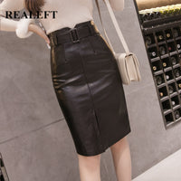 Elegant Pencil Black PU Leather Split Sheath Wrap Skirts