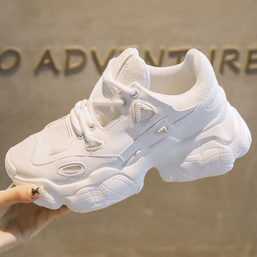 Solid White Chunky Sneakers