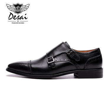 Genuine Leather Double Buckles Oxford Shoes