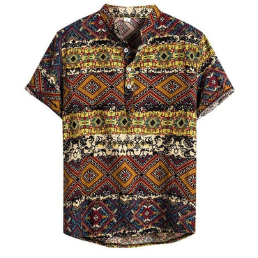 Retro Ethnic Nationality Casual Cotton Linen Printing Short Sleeve Shirts