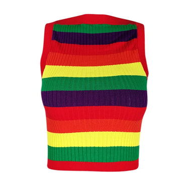 Knitted tank Vest Sleeveless Rainbow Printed Red Sexy Tank Top & Camis