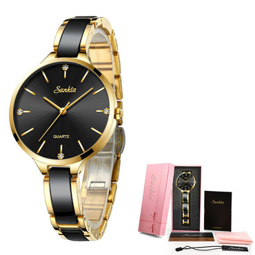 Ceramic Simple Diamond Clock Casual Watch