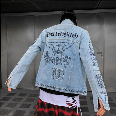 Dark Icon Embroidery Turn-down Collar Casual Denim Jackets