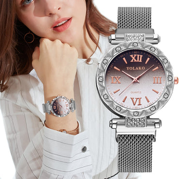 Stainless Steel Band Magnet Buckle Gradient Dial Watch