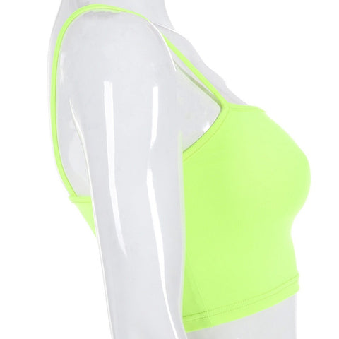 Neon Green Slim Sexy Strap Tank Top Camis