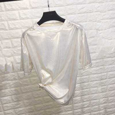 shiny loose short sleeve t-shirt