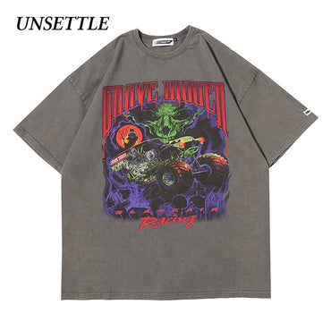 Hip Hop Fashion Gothic Print Short Sleeve T-shirts