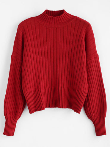 Cotton Turtleneck Drop Shoulder Solid Loose Tops Knitted Sweater
