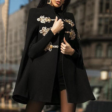 Vintage Black Embroidery Printed  Cloak Retro Gothic Coat
