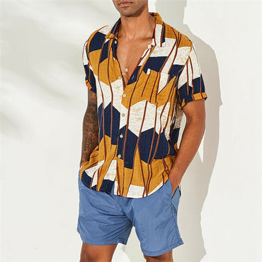 Striped Shirts Casual Loose Print Hawaiian Short Sleeve Shirts