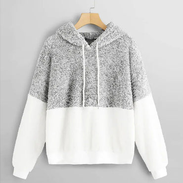 Fluffy Teddy Plush Long Sleeve Patchwork pullovers Loose Casual hoodies