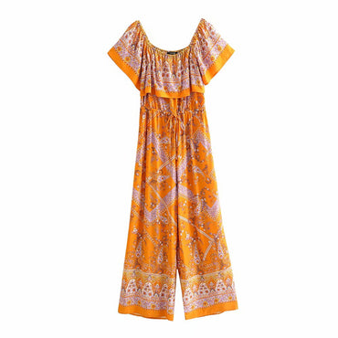 Vintage chic orange floral print sleeveless Boho Jumpsuit