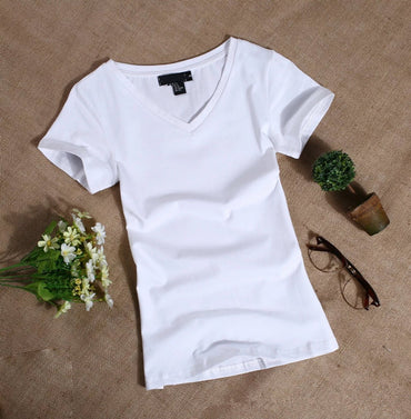 Short Sleeved Slim Solid Color Simple Pure T-Shirt