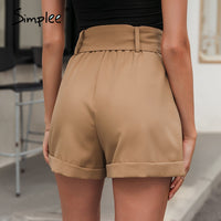 Casual vintage sash belt shorts