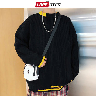 Patchwork Black Casual Knitted Sweater