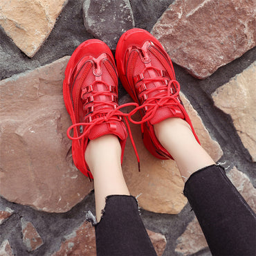 Red Platform Glossy PU Mesh Breathable High Street Shoes