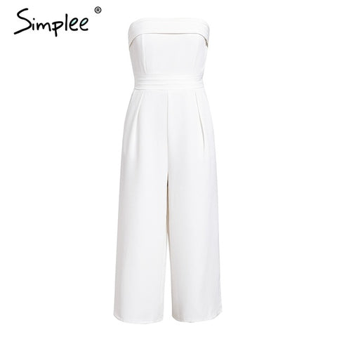 Elegant off shoulder Sleeveless layer zipper Sexy jumpsuit