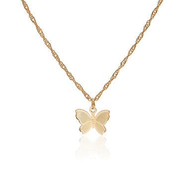 Vintage Metallic Gold Chain Butterfly Pendant Necklace