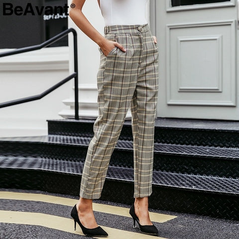 Elegant plaid blazer pants