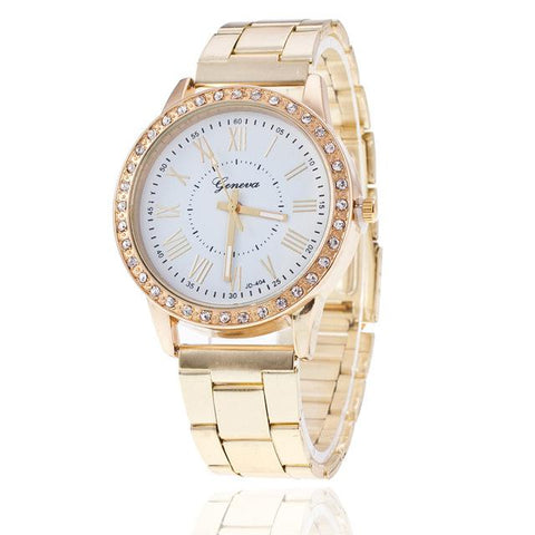 Geneva Classic Diamond Gold Wrist Watch