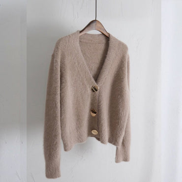 Golden Shiny Button Single Breasted Woolen Sweater