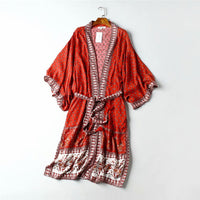 Vintage chic red Floral Print Sashes V Neck batwing Sleeves Boho Bohemian Kimonos