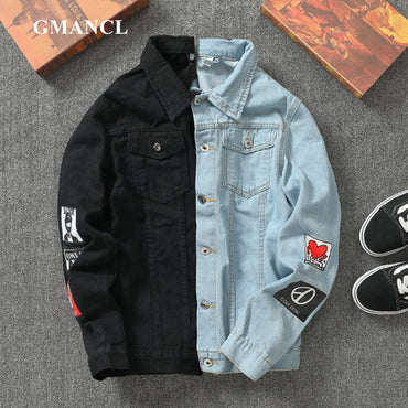 badge printed Hip hop Casual Slim Fit Denim Jackets