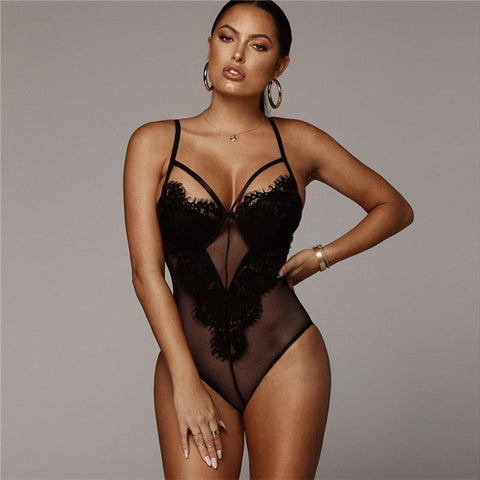 strappy mesh lace transparent slim one piece caged sheer plunge bodysuits