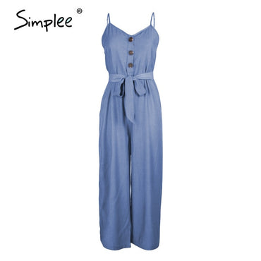 Casual sash Spaghetti straps buttons wide leg jumpsuit