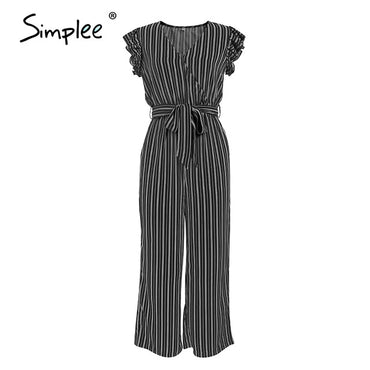 Elegant striped print Ruffle sleeve v neck cotton jumpsuit
